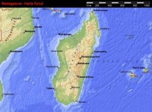 Harta Madagascarului vazuta din satelit, harta fizica 2