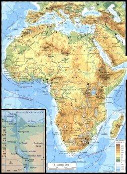 Harta Africi vazuta din satelti, Harta fizica a Africii 2